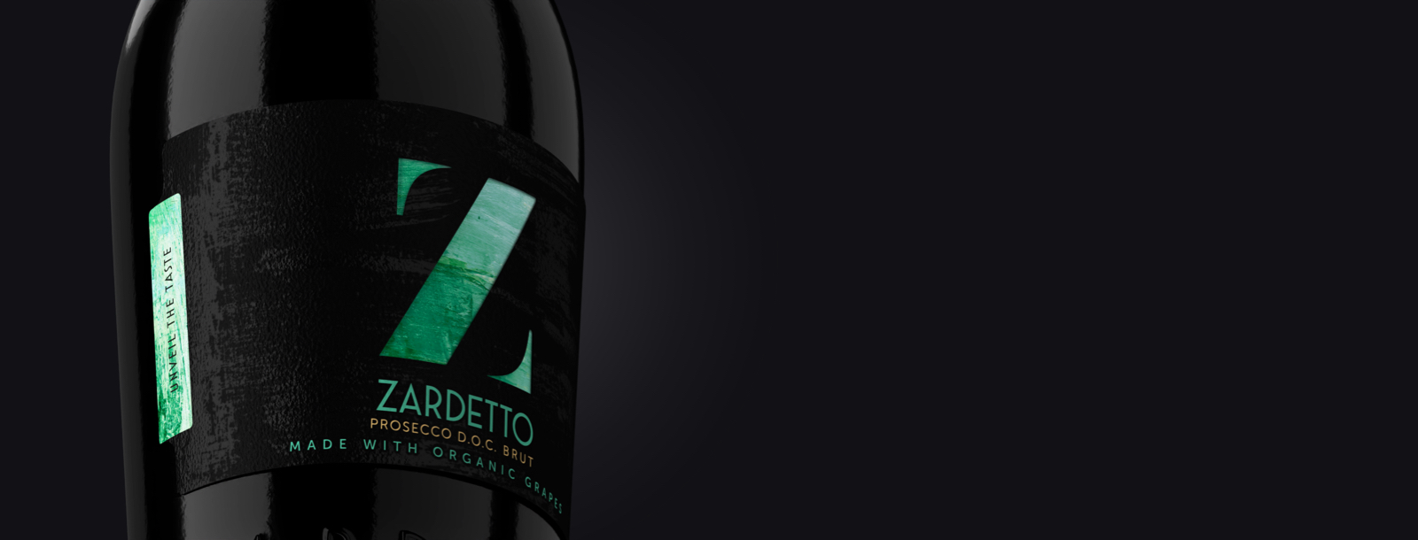 Closed Label on the bottle of Zardetto's Prosecco DOC brut Organic Grapes