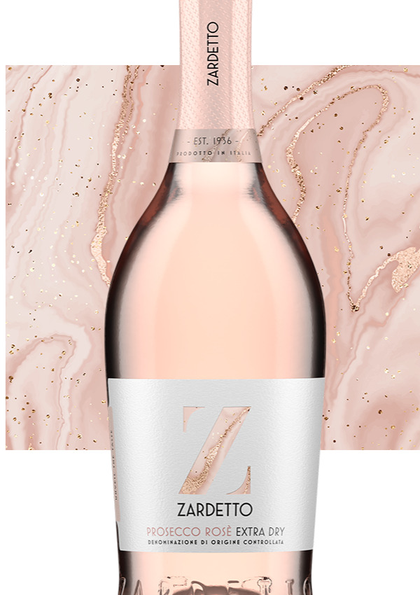 Bottle of Prosecco Rosé with pink artboard behind